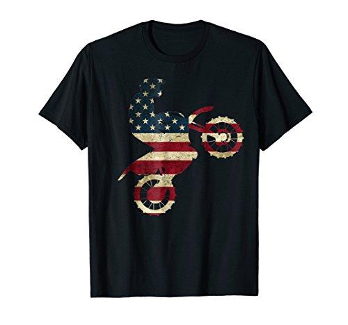 Motocross Dirt Bike tshirt American Flag Gift Brap Shirt Dad