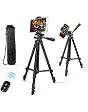 """Phone Tripod, Aureday 50"""" Extendable Adjustable Smartphone & Tablet Tripod Stand with Phone Holder Mount & Remote, Compatible with Tablet/Cell Phone/Camera"""