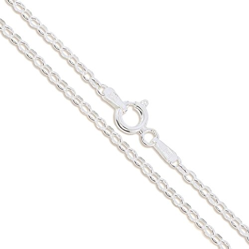 Sterling Silver Rolo Chain 2.1mm Solid 925 Italian Round Cable Link Necklace - Silver Solid Rolo