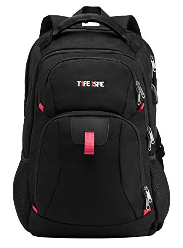 T1FE 1SFE 1811-B 19''/40L X Large Business Travel Laptop Backpack | College Book Bag | 4 Compartments' Casual Daypack | TSA ScanSmat & USB Charging & Earphone Plug