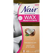 Nair Wax Ready-Strips for Bikini & Underarm with Nourishing Coconut Milk Oil, 32 Count