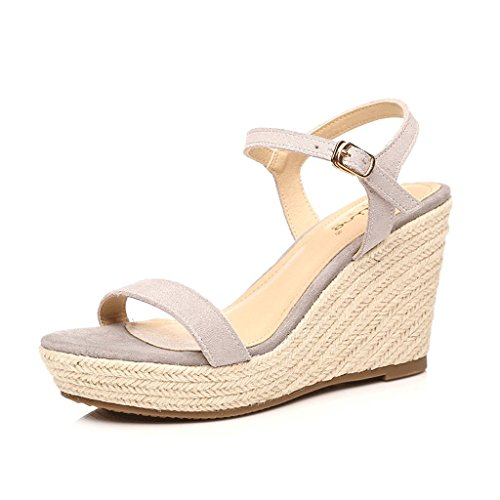 Dream Women Gray Platform Heels Open-Toe Woven Ankle Shoes Sexy Wedges Sandals Gray 9cm 9w2HXn6pqW