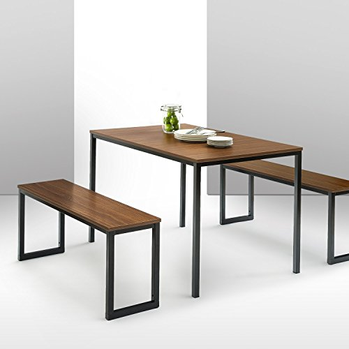 Zinus Louis Modern Studio Collection Soho Dining Table with Two Benches / 3 piece set, Brown (With Leaf Rustic Table Dining)