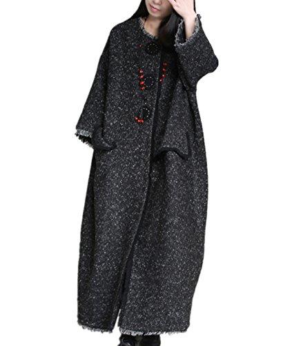 Yesno XA8 Women Long Woolen Jacket Coat Casual Oversize Big Pocket Fringe Large Sleeve (XL (US16-US18), Dark Gray) by YESNO