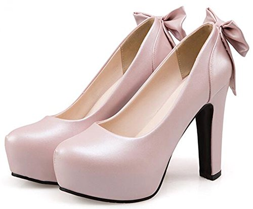 Idifu Mujeres Fashion Arcos Plataforma High Block Heels Bombas Low Top Slip On Court Zapatos Pink