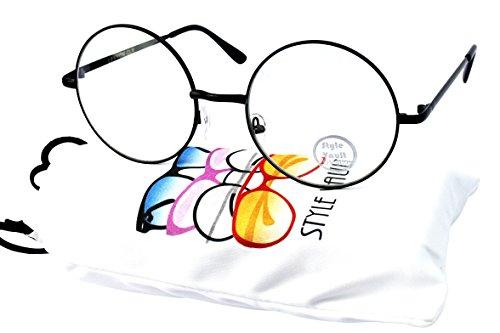 V3127 Style Vault Metal Frame Round Clear lens Glasses (B3367F black-clear - Big Glasses Trend Black