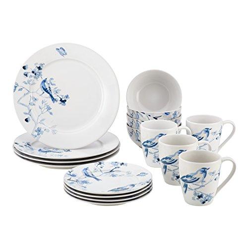 Paula Deen 16 Piece Indigo Blossom Stoneware Dinnerware Set, Print