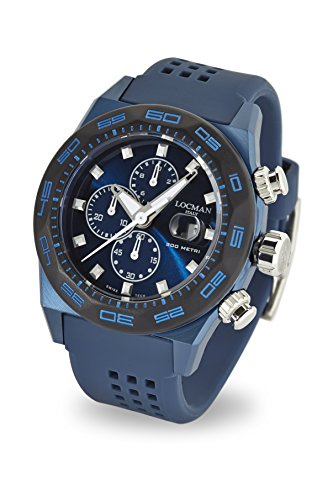 Locman Italy Men's 'Stealth 300 Metri' Quartz Stainless Steel and Rubber Diving Watch, Color:Blue (Model: 0217V4-BKBLNKS2B) by Locman Italy