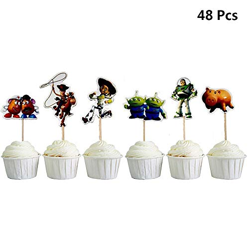 Finduat 48 Pcs Toy Story Themed Cupcake Toppers Cake Decoration Dessert Table Birthday Party Decor]()