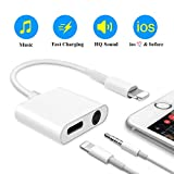 Phone Headphone Jack Adapter, AUX Headphone Adapter 2 in 1 Power Cables & Aux Audio Converter, 3.5 mm Aux Jack Charger Adapter Compatible with iPhone 7/7 Plus/8/8 Plus/X/Xr/Xs/Xs Max/iPad (White)