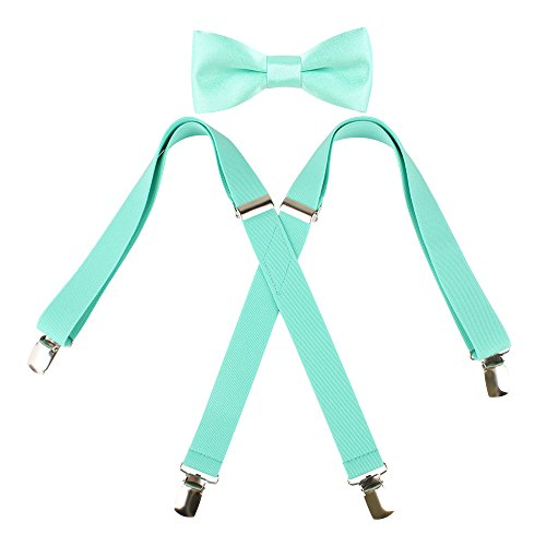Kat Cheung Bahar 2PCS Bow Tie And Suspenders Set For Kids Boys 4 Clips Adjustable and Elastic Braces X Shape (Mint)