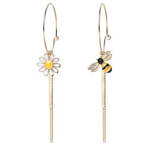 Szxc Jewelry Women Enamel Daisy Bee Flower Stud Dangle Earrings