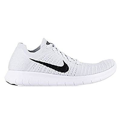 Nike Women's Free Running Motion Flyknit Shoes, White/Pure Platinum/Black - 8.5 B(M) US