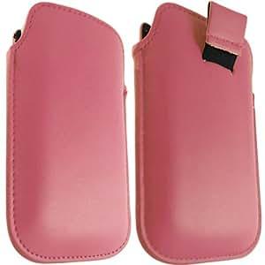 ONX3 Samsung I9001 Galaxy S Plus Baby Pink Leather Tire Tab Case bolsa protectora