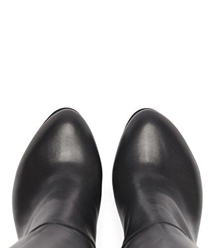 PoiLei Megan - Damen-Schuhe / eleganter High-Heel Langschaft-Stiefel aus Echt-Leder - mit Block-Absatz, Reißverschluss-Detail und weitem Schaft - schwarz