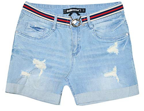 (dollhouse Women\'s High Waist Stretch Denim Shorts with Belt and Folded Hem, Light Wash, Size)