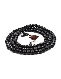 Zen Dear Unisex Natural Ebony Buddhist Prayer Bead Necklace Bracelet Tibetan Prayer Mala Beaded Black