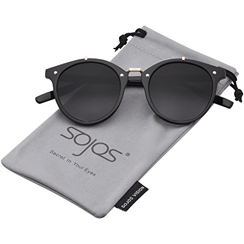 SojoS Vintage Retro Round Sunglasses Mirror Tinted Circle Lens Men Women SJ2054 with Black Frame/Grey Lens