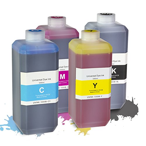 - SOJIINK 1x Black, 1x Cyan, 1x Magenta, 1x Yellow Refill Ink 16.9 oz Bottle Compatible with Most Inkjet Printers (Includes Refill Kit)