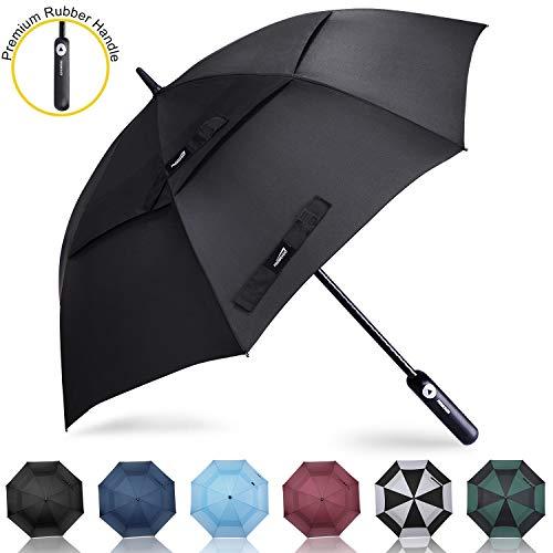 Prospo Golf Umbrella 62 inch Large Auto Open Windproof Double Canopy Oversized Stick Vented Umbrellas Black