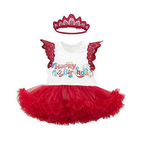 WINMI Baby Girls' 1st Birthday Dress Outfit Headband 2PCS (12 Months) Sleeveless Onesie with Tutu Happy Birthday