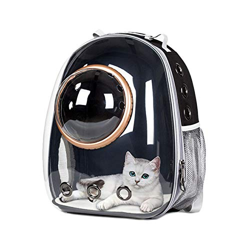 - dunical Astronaut Space Capsule Breathable Car Bike Window Bubble Cat Dog Travel Carry Bag Transparent Pet Carrier Backpack,Pink(Gold Ring),M