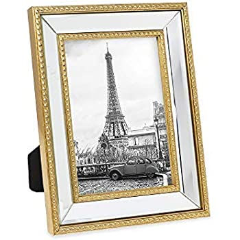 8b54a165218 Isaac Jacobs 5x7 Gold Mirror Bead Picture Frame - Classic Mirrored Frame  with Dotted Border Made for Wall Display