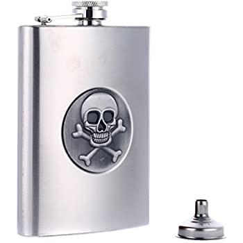 Taneaxon 8 oz Skull Stainless Steel Pocket Hip Flask