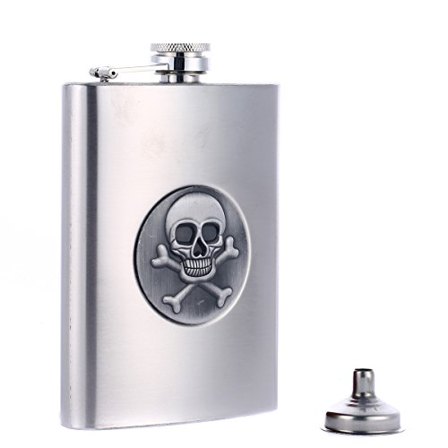 Taneaxon 8 oz Skull Stainless Steel Pocket Hip Flask with Funnel