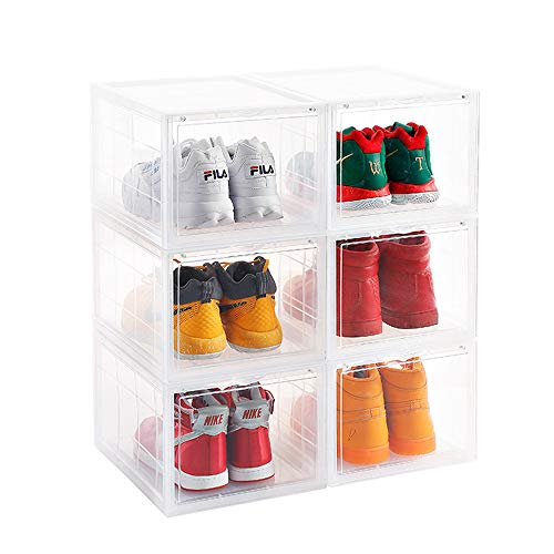 mens Mens Shoe Storage Box Plastic Foldable Stackable Shoe Container Clear Closet Shelf Shoe Organizer-3 Pack ()