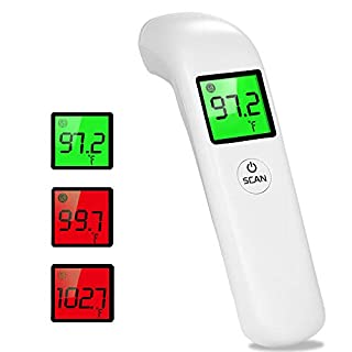 Infrared Forehead Thermometer, Non-Contact Forehead Digital LCD Handheld Thermometer, Accurate and Fast Measurement Temperature for Baby, Adults and Surface of Object(White)