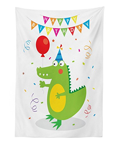Lunarable Alligator Tapestry, Birthday Celebrations for Party Boy Crocodile with Balloons and Confetti Icons, Fabric Wall Hanging Decor for Bedroom Living Room Dorm, 30 W X 45 L Inches, Multicolor]()