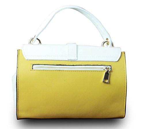 Made in Italy Vera Pelle Echt Leder Henkeltasche Handtasche Clutch Gelb-Creme