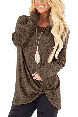 HHGKED Womens Long Sleeve Shirts Knotted Round Neck Tunics Fall Solid Twist Blouse Tops ()