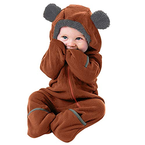 Sameno Baby Winter Jumpsuit Infant Toddler Girls Boys Cartoon Ears Hoodie Romper Zip Clothes (3-6 Months, Brown)
