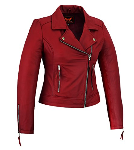 A&H Apparel Womens Genuine Sheep Leather Durable Incredible Soft Leather Motorcycle and Casual Jacket Maroon (Small) (Womens Maroon Leather Jacket)