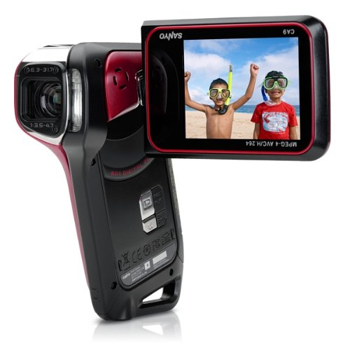 GX High-Definition 720p Waterproof Camcorder, 9 MP, 5x Optical Zoom Dual Camera (Red) ()