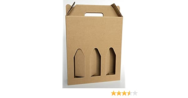 Caja de cartón con asa para 3 botellas de 750 ml (vino, cerveza, aceite), color marrón: Amazon.es: Hogar