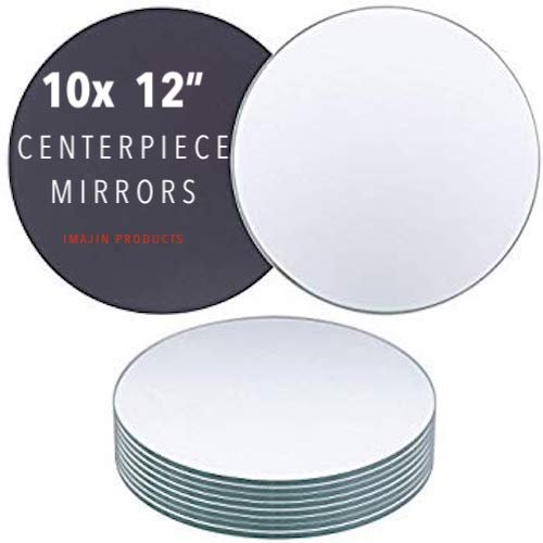 Imajin Products Round Centerpiece Mirror for Wedding Decorations Dining Table Centerpieces 10x -10