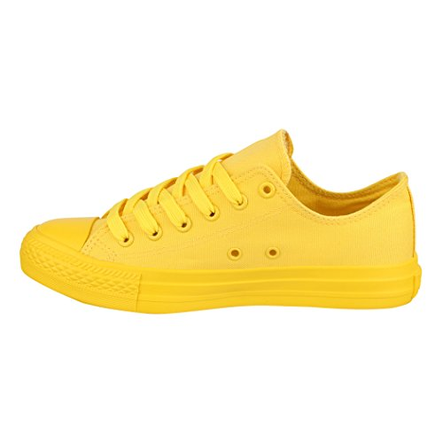 All Sport Basic De Low Elara Femmes Baskets Loisirs Yellow Chaussures Lacets 6vFxYqH