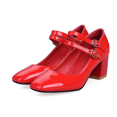AllhqFashion Womens Kitten Heels Solid Buckle Square Closed Toe Pumps-Shoes Red sShXF46v6t