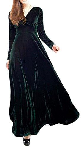 Cruiize Womens Manches Longues Élégante Solide Velours V-cou Longue Robe Vert Noirâtre