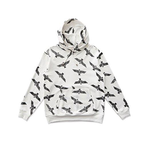 BOY London Unisex (S,M,L,XL) Eagle Patterned Hoodie - Black,White New_(BG3HD034) (White, Medium) by BOY London