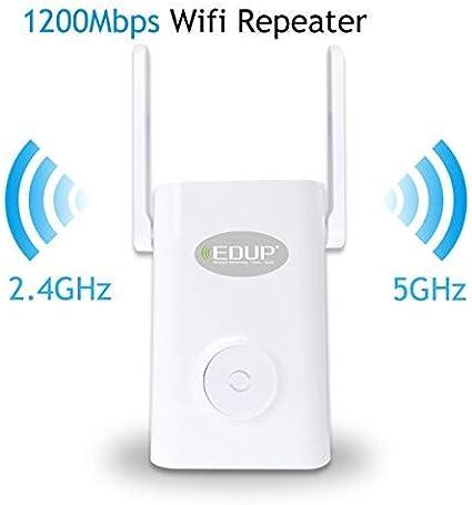 WISP Amplificación de señal inalámbrica WiFi, Amplificador de señal WiFi de 1200 Mbps, repetidor de Red inalámbrico de 2,4/5 GHz de Banda Dual ...