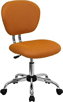 Flash Furniture Mid-Back Orange Mesh Swivel Task Chair with Chrome Base