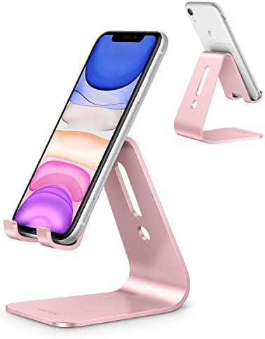 Cell Phone Stand, OMOTON C1 Phone Holder – [Upgraded] Desktop Aluminum Phone Cradle Dock Compatible with iPhone 11 Pro/ Xs Max XR 8 Plus, All Android Phones and More (Non-Adjustable), Rose Gold