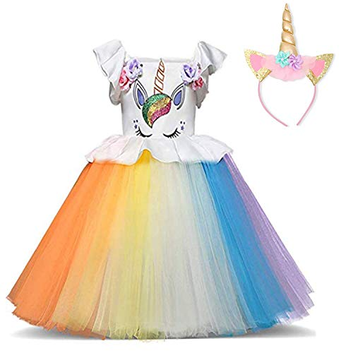 TTYAOVO Girl Flower Unicorn Costume Lace Tulle Princess Pageant Party Dress Size 1-2 Years White&Orange