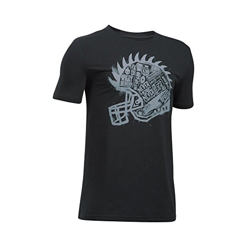 Armour Under Football T-shirt (Under Armour Boys' Never Retreat T-Shirt,Black (001)/Steel, Youth Small)