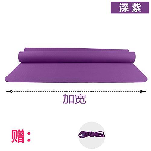 YOOMAT Verbreiterung 120 cm Doppellagige Yogamatte TPE 6 8 10 mm Anti-Rutsch Kinder Hop Dance Matte Gymnastikmatte Matten, 10 (Starter), 185 x 60 cm Deep lila (die Schlaufe) 102476