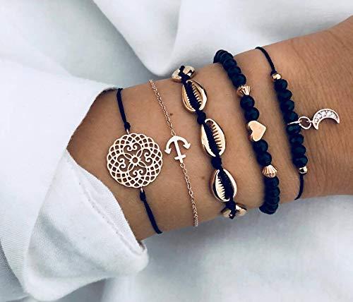 Natural Link Chain Bracelet Set Heart Handmade Boho Resin Adjustable Rope Bracelet for Unisex,Pendant Bracelet -